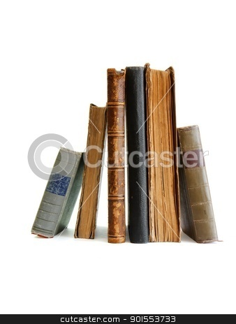 Stack of old books standing isolated  stock photo, Stack of old books standing isolated  by Shlomo Polonsky