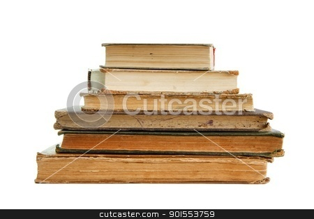 Stack of old books seen from pages isolated  stock photo, Stack of old books seen from pages isolated  by Shlomo Polonsky
