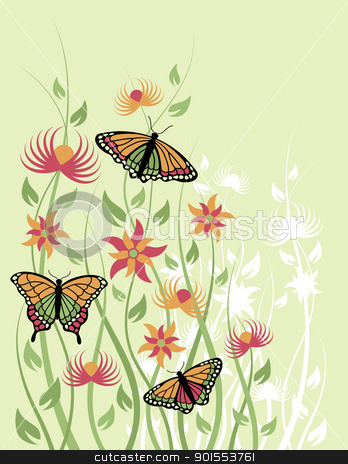 Butterfiles and Flowers stock vector clipart, Vector illustration of butterflies and flowers. by Lisa Fischer