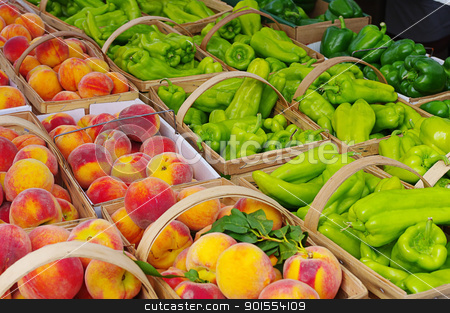 Peaches and Peppers on display at market stock photo, Peaches and Peppers on display at market by ikehayden