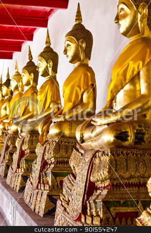 Golden sitting Buddha statues stock photo, Golden sitting Buddha statues in Wat Mahathat Bangkok Thailand by Lavoview