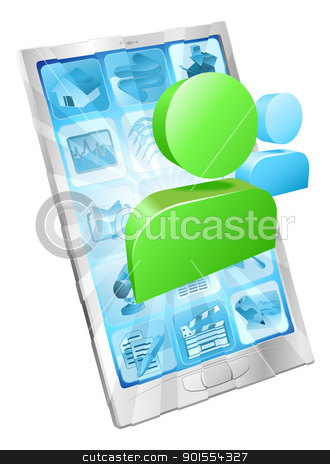 Social media icon phone app concept stock vector clipart, Social media icon coming out of phone screen concept by Christos Georghiou