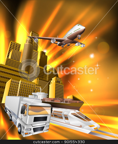City Logistics Delivery Graphic stock vector clipart, City logistics delivery concept illustration. Truck, airplane, and train speeding towards viewer from city. by Christos Georghiou