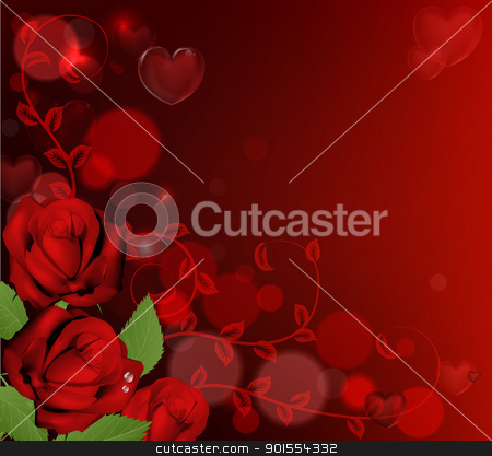 Red valentines day roses background stock vector clipart, Red valentines day background with heart shaped bubbles and red roses by Christos Georghiou