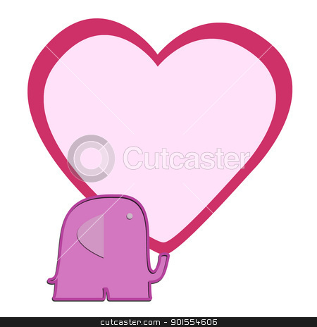 Valentine Elephant with heart for background stock photo, Valentine Elephant with heart for background and text note by jumpe