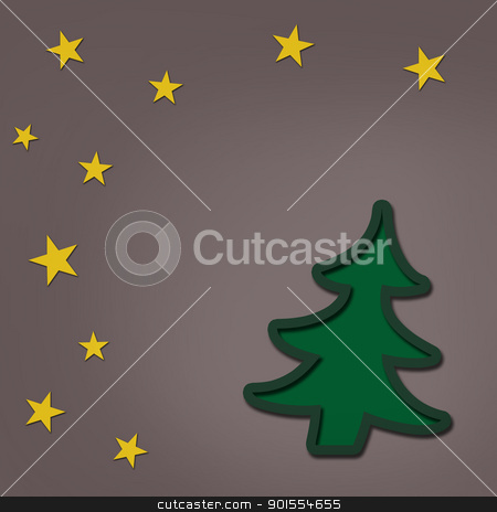 Christmas tree for object and background stock photo, Christmas tree with stars for art background by jumpe