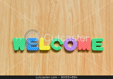 colorful letters with welcome isolated on wood texture stock photo, colorful letters with welcome isolated on wood texture by Lavoview