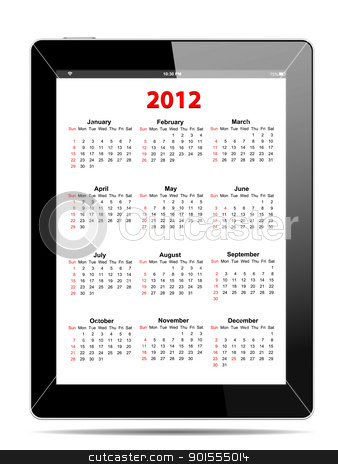 Calendar for 2012 in tablet PC on white, vector format stock vector clipart, Calendar for 2012 in tablet PC on white, vector format by manaemedia