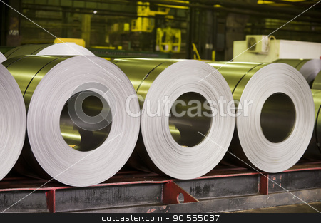 rolls of zinc steel sheet stock photo,  by manaemedia