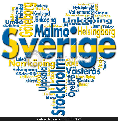 I Love Sverige (Sweden) stock photo, Written Sverige (sweden) and Swedish cities with heart-shaped, Swedish flag colors  by catalby