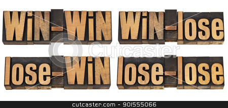 possible outcome of conflict or game stock photo, win-win, win-lose, lose-win, lose-lose - four possible outcome of conflict or game - a collage of isolated text in vintage letterpress wood type by Marek Uliasz