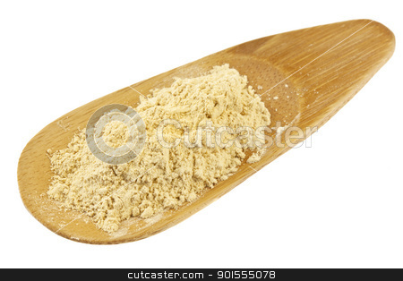 maca root powder stock photo, maca root powder (nutrition supplement - superfood from Andies) in a small bamboo scoop by Marek Uliasz