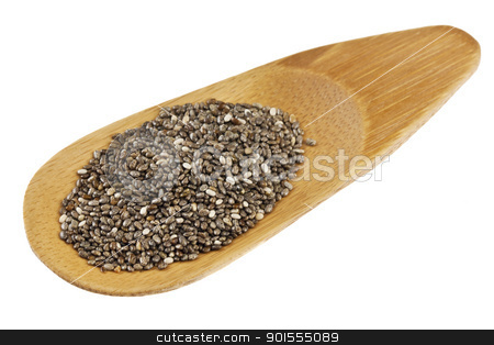 chia seeds on a bamboo scoop stock photo, a small bamboo scoop of chia seeds, isolated on white by Marek Uliasz