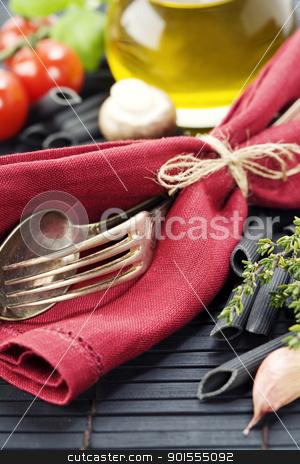 pasta ingredients stock photo, Spoon, fork, napkin and pasta ingredients (Penne, olive oil, basil, mushrooms, tomato, lemon) by klenova