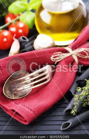 pasta ingredients stock photo, Spoon, fork, napkin and pasta ingredients (Penne, olive oil, basil, mushrooms, tomato, lemon) by klenova