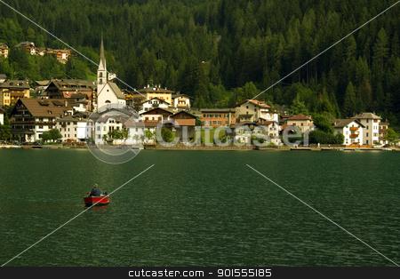 Alleghe's Lake II stock photo, A solitary fisherman on the Alleghe's Lake / Un pescatore solitario sul Lago di Alleghe by emiliano beltrani