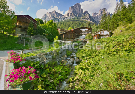 Rova village from a little bridge / Il villaggio di Rova da un piccolo ponte stock photo, Rova is a little, beautyful village at the earth of Fiorentina's Valley / Rova è un piccolo delizioso villaggio nel cuore della Val Fiorentina by emiliano beltrani