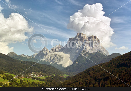 Fiorentina Valley on mid-september / La Val Fiorentina a metà settembre stock photo, Pelmo Mountain really dominates all the Fiorentina's Valley / Il monte Pelmo domina realmente la Val Fiorentina by emiliano beltrani