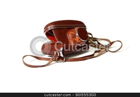 Empty red leather case of vintage photo camera  isolated stock photo, Empty red leather case of vintage photo camera  isolated by Shlomo Polonsky