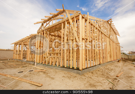 New Construction Home Framing Abstract stock photo, New Construction Wood Home Framing Abstract. by Andy Dean