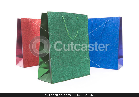 Set of Three Multicolored Glitter Gift Bags stock photo, Set of Three Multicolored Glitter Gift Bags on a White Background. by Andy Dean
