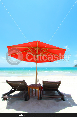 Beach chair stock photo, Beach chair color orange by kamonrat