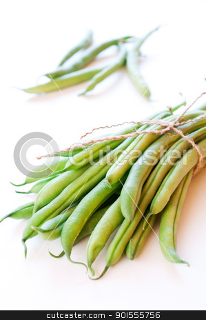 Green beans on white background stock photo, Green beans on white background close up by Nanisimova