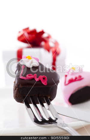 Heart Shape Chocolate with rose stock photo, Valentine Series, Heart Shape Chocolate with rose on white background by pixs4u