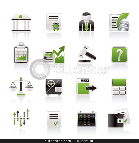 Stock exchange and finance icons - vector icon set stock vector clipart, Stock exchange and finance icons - vector icon set by Stoyan Haytov