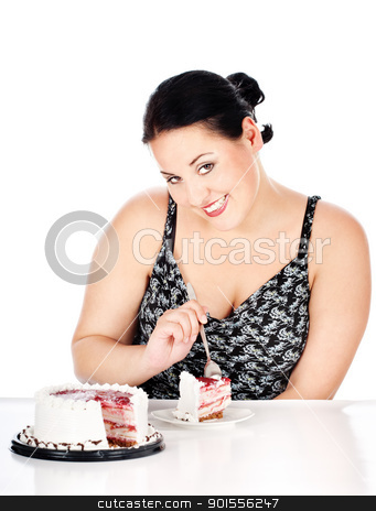 Slice of cake and chubby woman stock photo, chubby woman eating slice of cake, isolated on white by iMarin