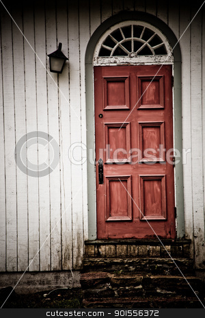 Old wooden door stock photo, Old vintage wooden door photo with nobody by Stephane Thomas Durocher