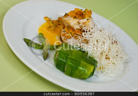 Gourmet dish. stock photo, Chicken geourmet dish with asparagous. by Pablo Caridad