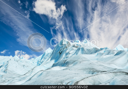 Climbers walk up on glacier in Patagonia. stock photo, Climbers walk up on Moreno glacier in Patagonia, Argentina. by Pablo Caridad