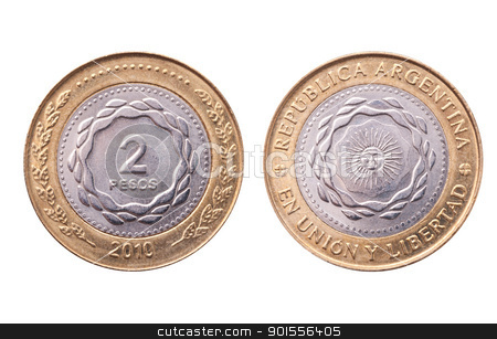 Argentina, 2010 bicentenary anniversary coin, clipping path.  stock photo, Argentina, 2010 bicentenary anniversary coin, clipping path. Two pesos  by Pablo Caridad