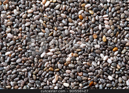 Chia seeds background. stock photo, Background of Chia seeds, close up shot. by Pablo Caridad