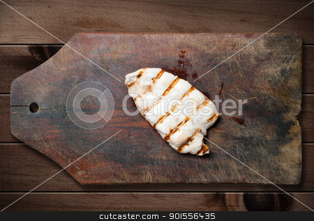 Grilled chicken breast. stock photo, Grilled chicken breast on wooden table. by Pablo Caridad