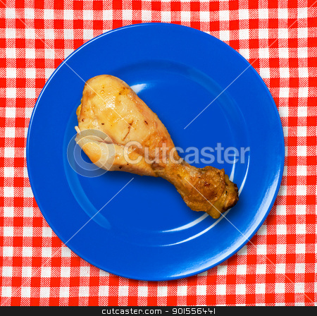 BBQ chicken drumstick . stock photo, BBQ chicken drumstick on plate. by Pablo Caridad