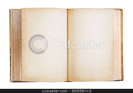 Old book isolated clipping path. stock photo, Old book with blank stained pages, clipping path. by Pablo Caridad