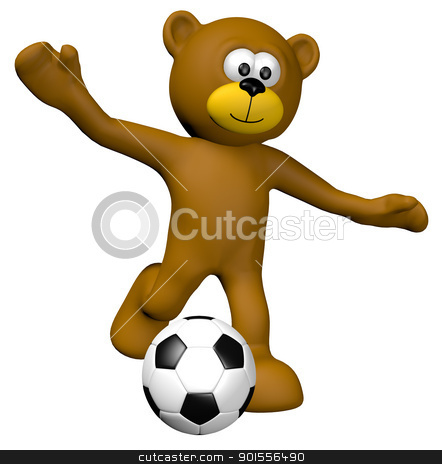 soccer junior stock photo, teddy bear with  soccer ball - 3d illustration by J?