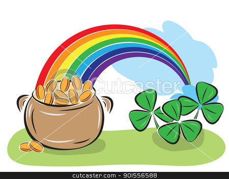 St. Patrick Day pot with coins, rainbow and shamrocks stock vector clipart, St. Patrick Day pot with coins, rainbow and shamrocks. Vector illustration. by antkevyv