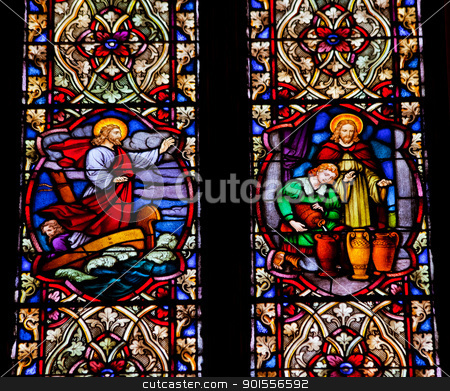 Jesus on Boat Wine Stained Glass National Shrine of Saint Franci stock photo, Jesus Quieting Water Making Wine Stained Glass in National Shrine of Saint Francis of Assisi San Francisco California.  This church was founded in 1849 and rededicated in 1919 after church was destroyed in 1905 earthquake. by William Perry