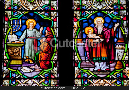 Baby Youth Jesus Stained Glass National Shrine of Saint Francis  stock photo, Baby Jesus with Joseph and Young Jesus Teaching Stained Glass in National Shrine of Saint Francis of Assisi San Francisco California.  Church has relics of St Francis.  This church was founded in 1849 and rededicated in 1919 after church was destroyed in 1905 earthquake. by William Perry