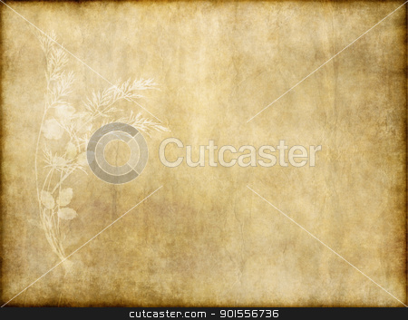 old paper with floral design stock photo, old vintage paper with floral design background texture by Phil Morley