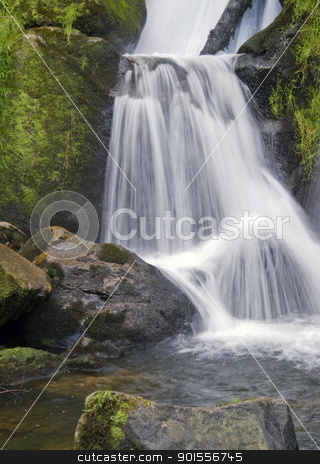 detail of the Triberg Waterfalls stock photo, scenery showing a flowing water detail of the Triberg Waterfalls in the Black Forest in Southern Germany by prill