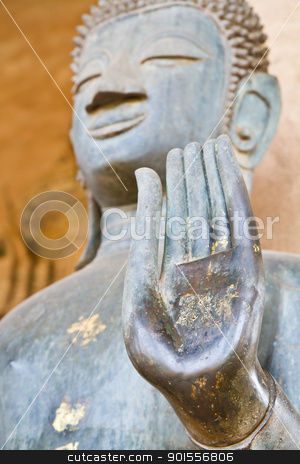 Hand of Buddha stock photo, Focus hand of Buddha. by narathorn
