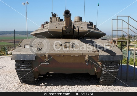 New Israeli Merkava Mark IV tank in museum stock photo, New Israeli Merkava Mark IV tank in Latrun Armored Corps museum by Shlomo Polonsky