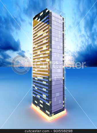Skyscraper stock photo, A contemporary skyscraper. 3D rendered Illustration. by Michael Osterrieder