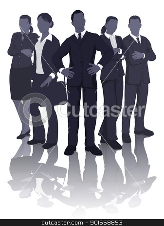 Business team illustration stock vector clipart, Illustration of a dynamic professional smart business team by Christos Georghiou