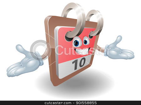 Desk calendar character illustration stock vector clipart, Illustration of a calendar mascot cartoon character  by Christos Georghiou
