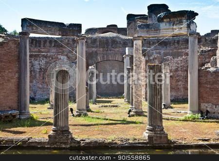 Roman columns stock photo, Roman columns in Villa Adriana, Tivoli, Italy by Perseomedusa
